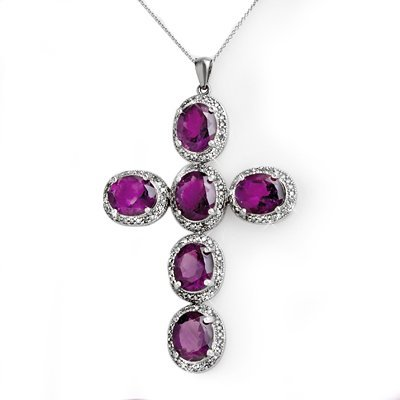 ACA Certified 20.0ctw Diamond & Amethyst Cross Pendant