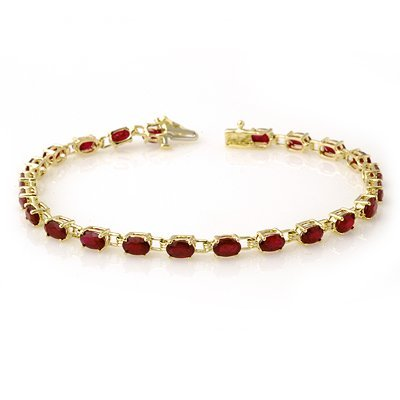 ACA Certified 7.0ctw Ruby Ladies Tennis Bracelet Gold