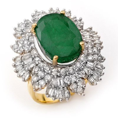 ACA Certified 11.65ctw Diamond & Emerald Ring 14KY Gold