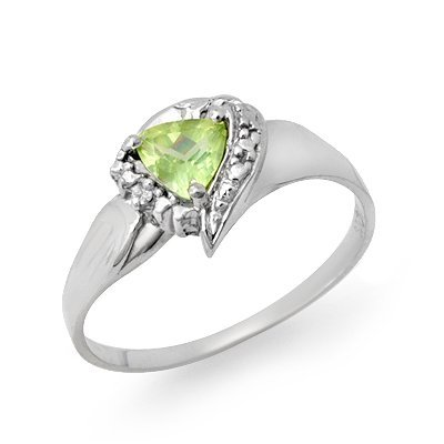 Certified Peridot & Diamond Ladies Ring White Gold