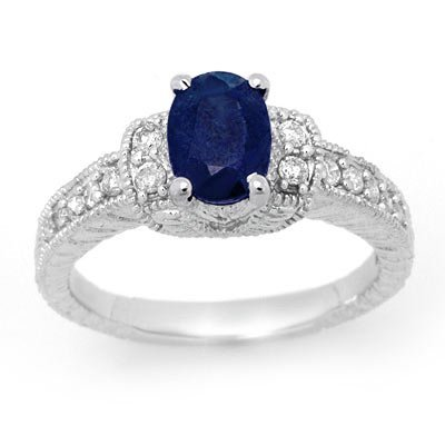 ACA Certified 1.75ctw Sapphire & Diamond Ring 14K Gold