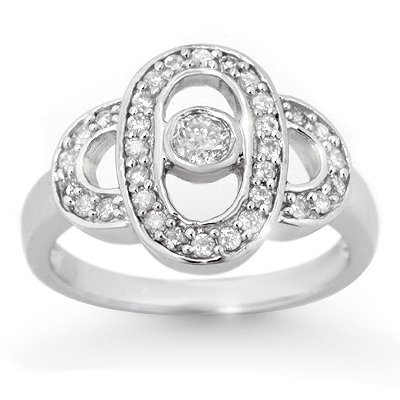Certified 0.55ct Diamond Right-Hand White Gold Ring