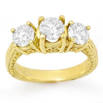 Certified 2.00ctw Three-Stone Diamond Ring 14K Gold