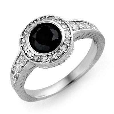 ACA Certified 1.38ct White/Black Diamond Ring 14K Gold