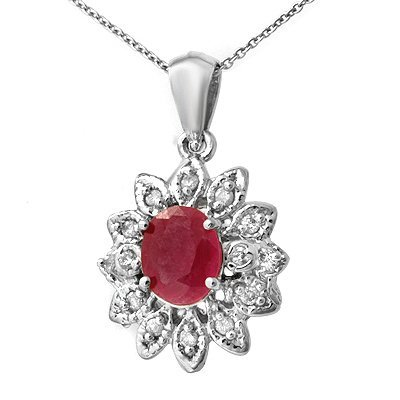Certified 2.10ctw Diamond & Pink Sapphire Pendant Gold