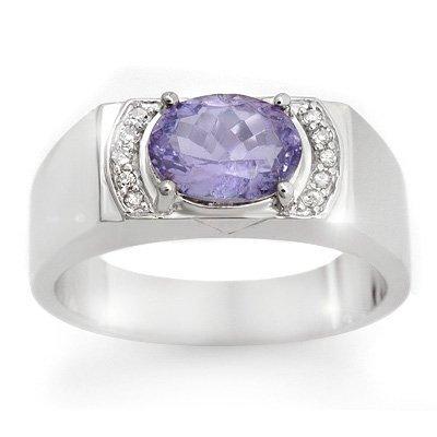 Men's 2.60ctw Diamond & Tanzanite Ring in White Gold
