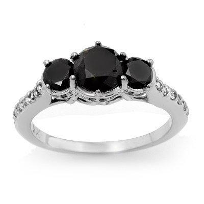 ACA Certified 1.95ct White/Black Diamond Ring 14K Gold