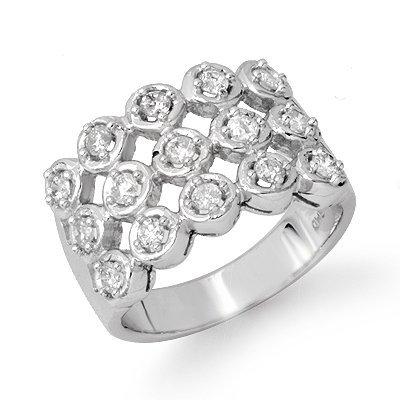 Certified 1.0ctw 3-ROW Diamond Wedding Band White Gold