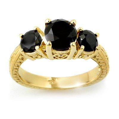 ACA Certified 2.5ct Black Diamond Ladies Ring 14K Gold