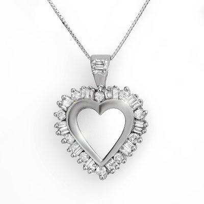 Overstock 1.50ctw Diamond Heart Pendant 14K White Gold
