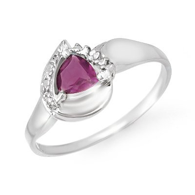 Certified 0.42ctw Amethyst & Diamond Ring White Gold
