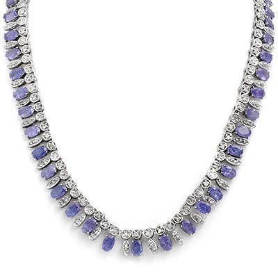 Certified 34.0ctw Tanzanite & Diamond Necklace Gold