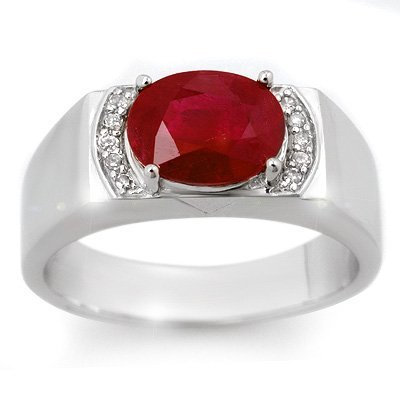 Men's 3.10ctw Diamond & Ruby Ring in Solid White Gold