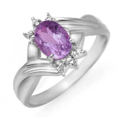 Certified .79ctw Amethyst & Diamond Ring White Gold