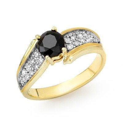 Solitaire 1.4ctw White & Black Diamond Ring Yellow Gold