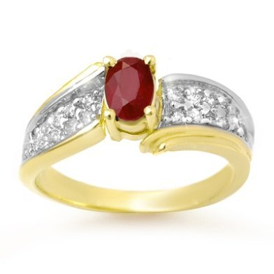 ACA Certified 1.43ctw Ruby & Diamond Ring Yellow Gold