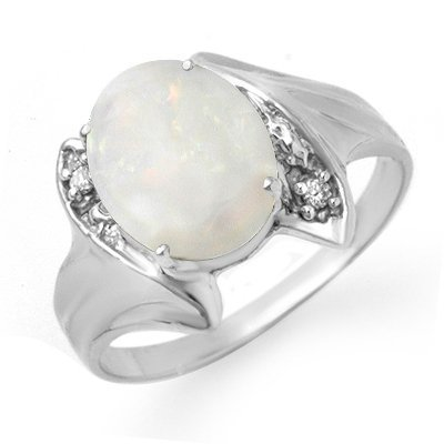 Certified .93ctw Opal & Diamond Ladies Ring White Gold