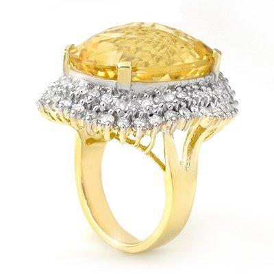 ACA Overstock 37.75ctw Citrine & Diamond Ring 14K Gold
