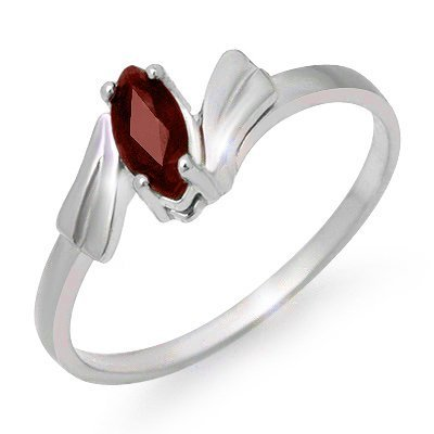 Overstock Certified 0.32ctw Ruby Ladies Ring White Gold