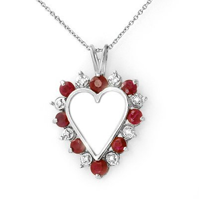 Certified 1.01ctw Ruby & Diamond Heart Pendant Gold