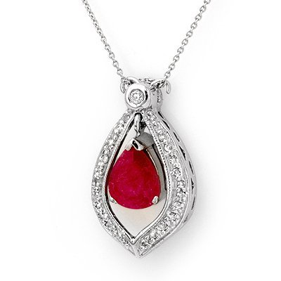 Certified 4.40ctw Diamond & Ruby Necklace White Gold