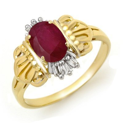 Overstock 1.06ct Ruby & Diamond Ladies Ring Yellow Gold