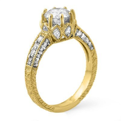 Famous 1.75ctw Diamond Engagement Ring 14K Yellow Gold