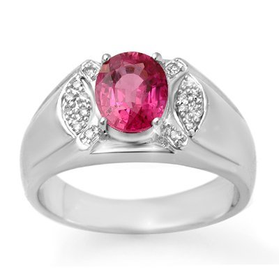 ACA Certified 3.15ct Pink SAP & Diamond Men's Ring Gold