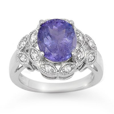 ACA Certified 4.25ctw Tanzanite & Diamond Ring Gold