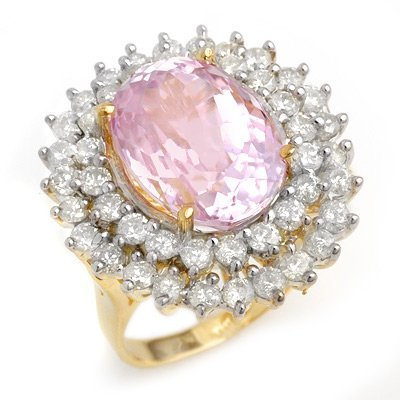 ACA Certified 12.08ctw Kunzite & Diamond Ring 14K Gold