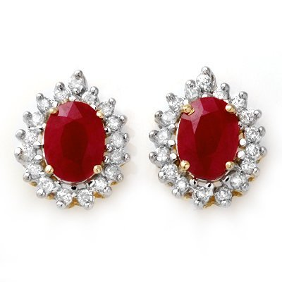Certified 4.44ctw Diamond & Ruby Stud Earring 14K Gold