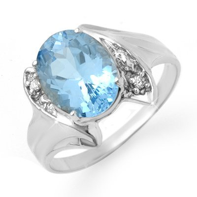 Certified 2.51ctw Blue Topaz & Diamond Ring White Gold
