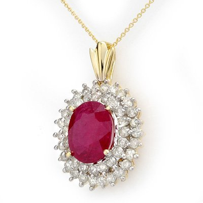 Genuine 10.81ct Ruby & Diamond Pendant 14K Yellow Gold