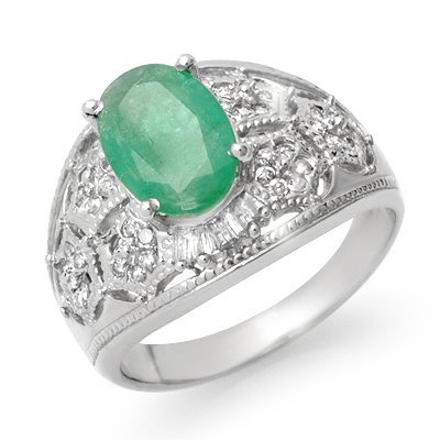 Certified 2.87ctw Diamond & Emerald Ring 14K Gold
