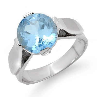 ANTIQUE STYLE 3.0 ctw BLUE TOPAZ LADIES RING WHITE GOLD