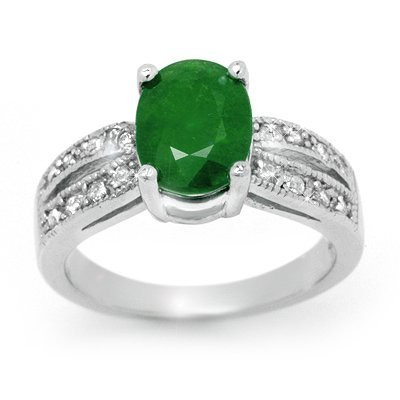 ACA Overstock 2.92ctw Emerald & Diamond Ring 14K Gold