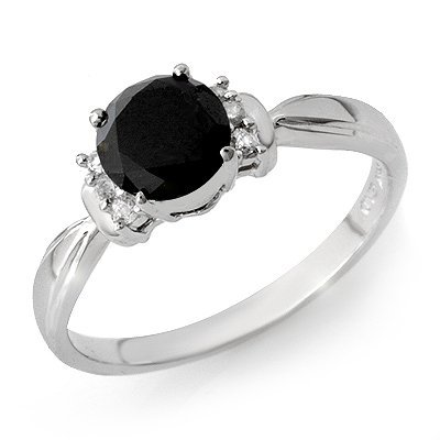 ACA Certified 1.0ct White/Black Diamond Ring 14K Gold