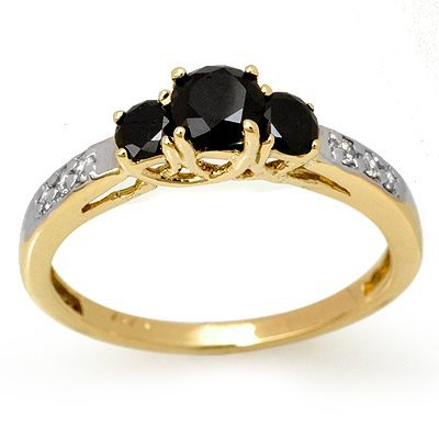 Famous!!! 0.80ctw White & Black Diamond Ring 14K Gold