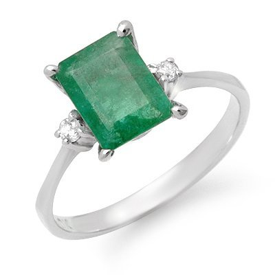 Certified 1.59ctw Emerald & Diamond Ring White Gold
