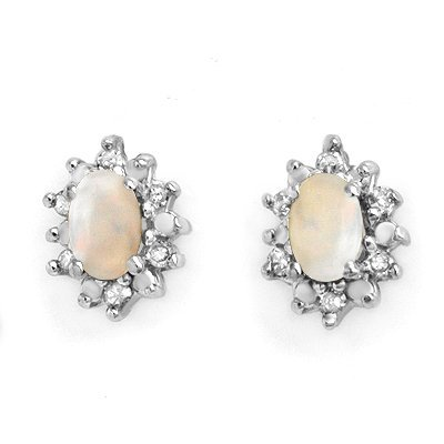 Certified .45ctw Opal & Diamond Earring Yellow Gold