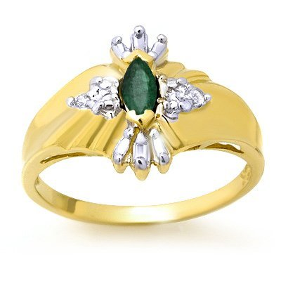 Certified 0.22ctw Diamond & Emerald Ring Yellow Gold