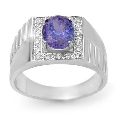 ACA Certified 2.75ct Tanzanite & Diamond Mens Ring Gold