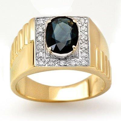 ACA Overstock 2.65ct Sapphire & Diamond Men's Ring Gold