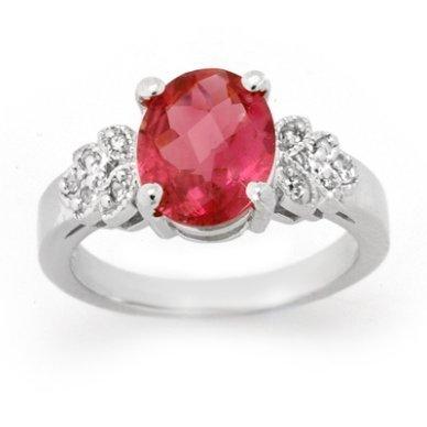 ACA Certified 3.85ct Rubellite & Diamond Ring 14K Gold