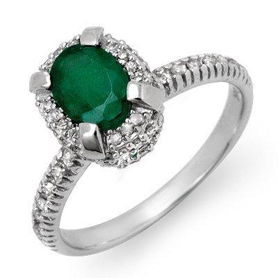 Certified 1.90ctw Emerald & Diamond Ring White Gold