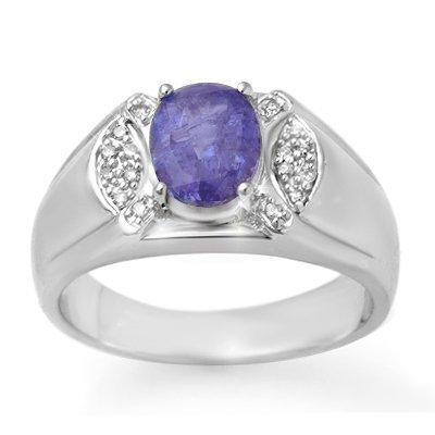 ACA Certified 2.65ct Tanzanite & Diamond Mens Ring Gold