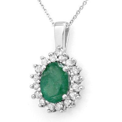 Certified 3.48ctw Emerald & Diamond Pendant 14K Gold