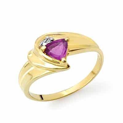 Certified 0.41ctw Amethyst & Diamond Ring Yellow Gold