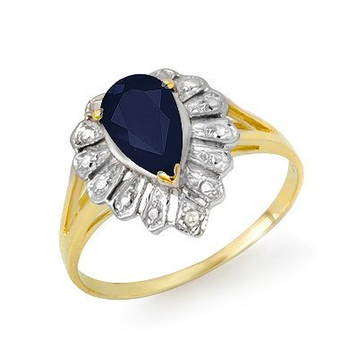 Certified 1.12ctw Sapphire & Diamond Ring Yellow Gold