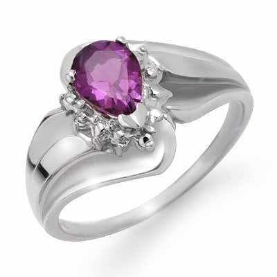 Certified 0.56ctw Diamond & Amethyst Ring White Gold